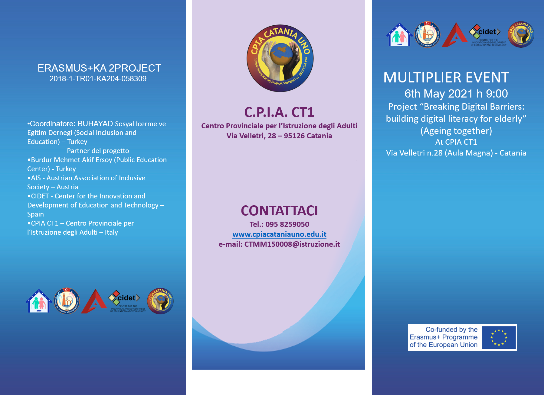 Multiplier Event in the frames of Ageing Together Project will be held in Catanis, Italy on 6 May 2021
